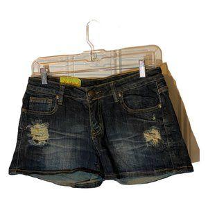 Machine Distressed Jean Shorts Dark Rinse 28